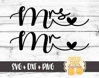 Mrs Svg, Mr Svg, Bride Svg, Groom Svg, Wedding Svg, His and Her Svg, Heart Svg, Love Svg, Svg Files, Svg for Cricut, Svg for Silhouette