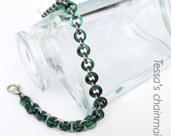 Chainmaille bracelet, minimalist green bracelet, green bracelet, grey bracelet, black bracelet, gothic bracelet, Tessa's chainmail