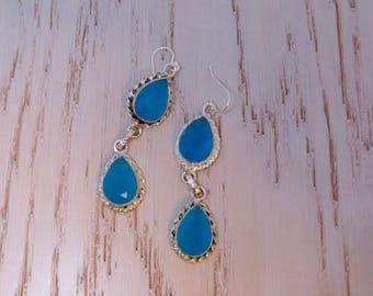 Blue Chalcedony Double Teardrop Earrings