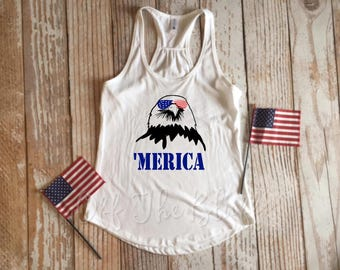 Merica Freedom Bald Eagle Racerback Tank Top