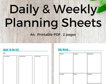 Daily and Weekly Planning Sheets | Planner Inserts