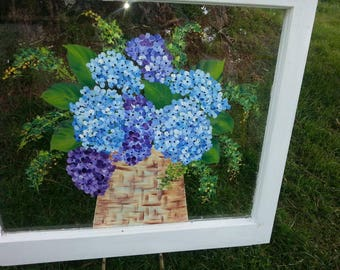 Hand painted vintage window painting artist designed hydrangea blisss