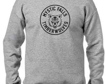 The Vampire Diaries inspired Grey Crewneck Sweatshirt - Jumper - Pullover - Mystic Falls Timberwolves