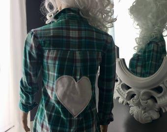Flannel button down Valentines Day shirt