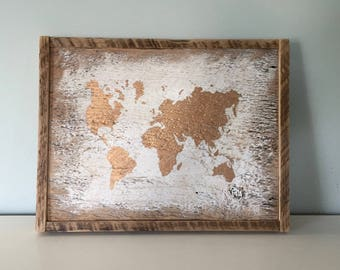 """Rustic World Map - Small  -  White - Gold - Reclaimed Vintage Barn Wood - 14"""" X 11"""""""