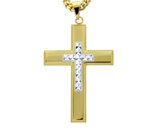"Gold-Tone Cross with Silver-Tone Diamond Cut Jesus Cross Necklace Pendant in Stainless Steel, 18""- 24"" Chain"