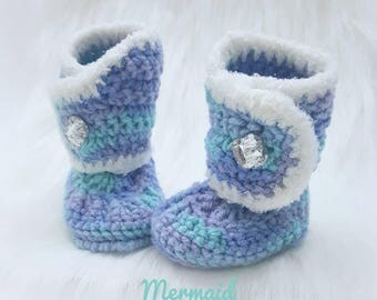 Princess Crochet Boots-Baby Girl Clothes - Baby Photo Prop - Newborn Baby Booties - Newborn Girl Coming Home Outfit Baby Girl Shoes Mermaid