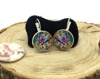 Butterfly cabochon earrings