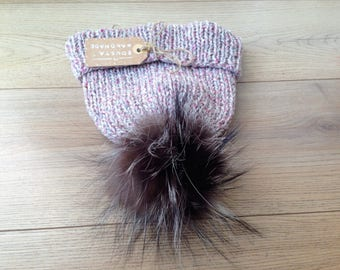 Cashmere Pom Pom Hat 100% Cashmere Beanie Real Fur Pompom Pink Hat Ski clothing Womens hat Mens hat