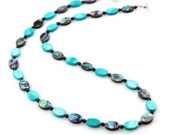 Paua Shell and Blue Mother-Of-Pearl Shell Necklace with Black Tourmaline