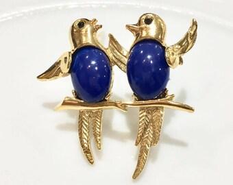 VINTAGE Linda - Duo color Lapis bird brooch
