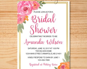 Floral Bridal Shower Invitation, Watercolor Floral Shower Invite, Pink And Orange Bridal Shower Invite, Bridal Shower Invitation, Invitation