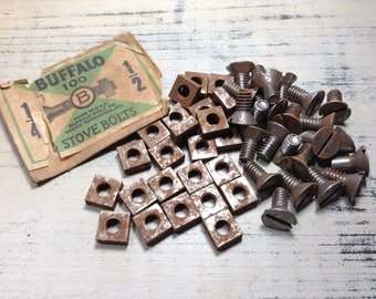 24 Vintage Stove Bolts, Rusty Stove Bolts, Nuts and Bolts, Salvaged Hardware, Restoration Hardware, Industrial, Steampunk, Assemblage Supply