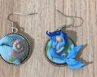 Earrings with siren and shells entirely handmade