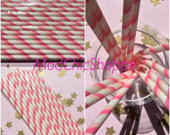 Pink Stripe Paper Straws, set of 12. Great for baby shower or girls birthday!