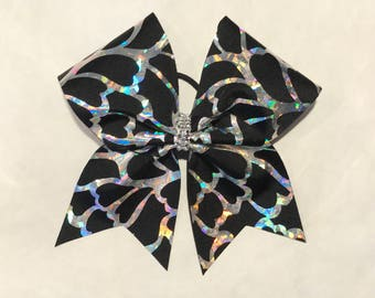 Black with silver foil cheer bow