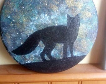 Glitter galaxy fox silhouette acrylic painting