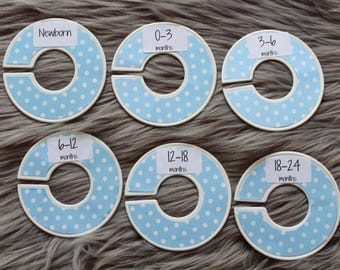 Blue polka dot baby closet dividers for baby nursery or baby shower gift