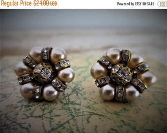 SUMMER CLEARANCE Ivory Glass Pearls and Rondelle Rhinestone Earrings