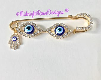 Triple Evil Eye & Hamsa Stroller pin