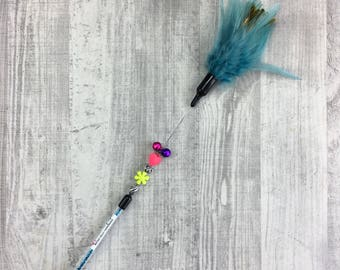 Cat toy | Petrol show feather teaser toy | Bell, beads & feather teaser | Sparkle cat toy | Indoor cat toy | Interactive cat toy