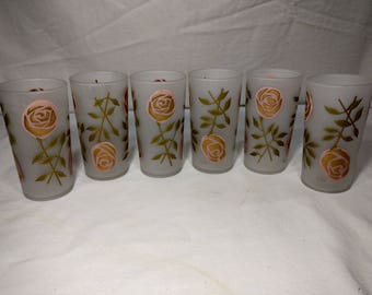 Retro signed Gay Fad mid century glasses with pink roses
