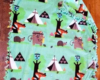 Woodland Creatures Fleece Baby Blanket