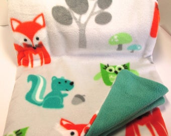 Fox, Squirrel, and Owl Blanket