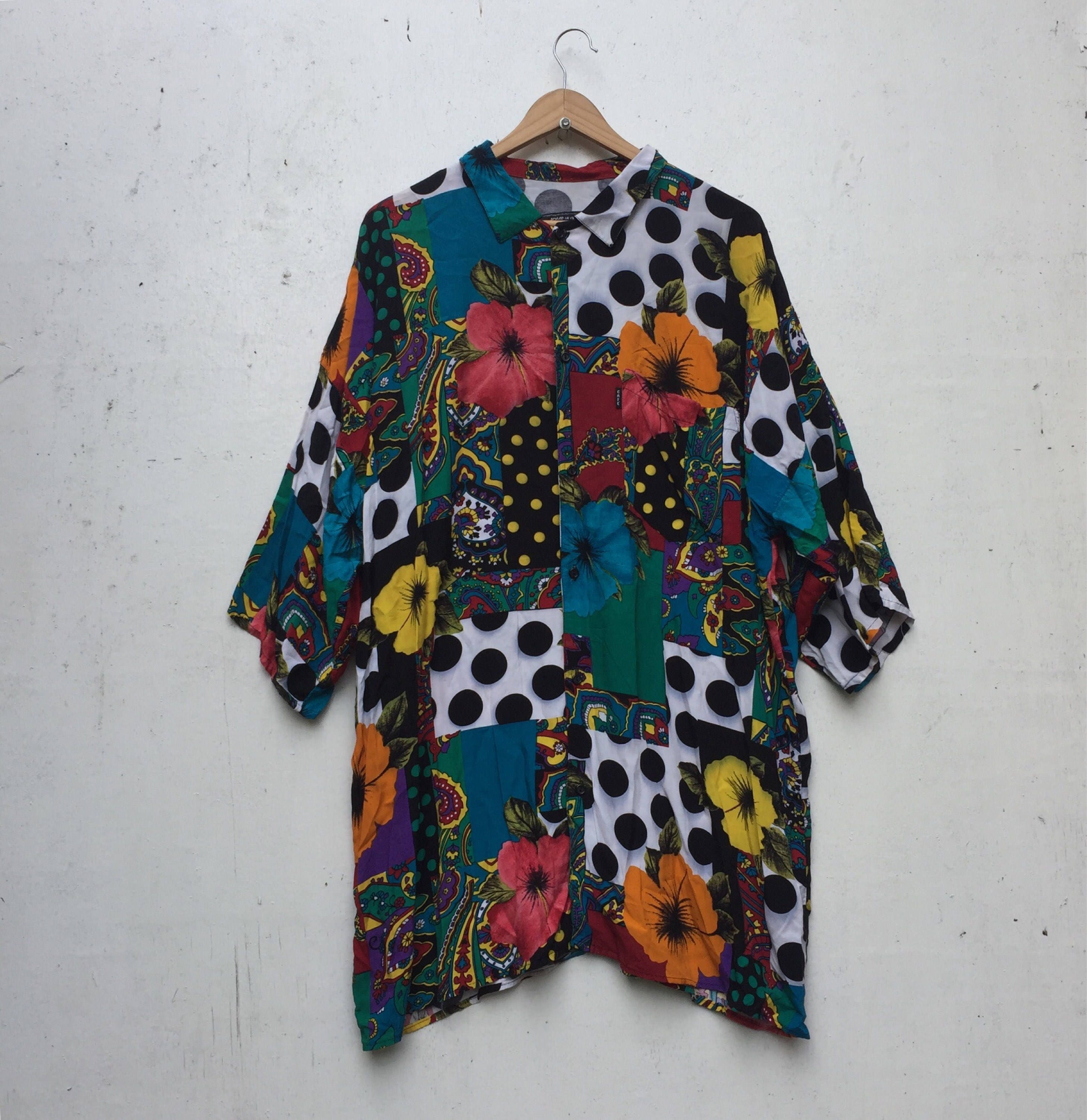 Vintage 90 s CAFE Silk Floral Multicolor Print Button Shirt Medium  Oversized  644 11538b346
