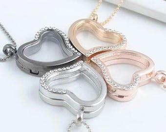 Bridal Wedding Heart Shaped Rhinestones Inlaid Pendant Locket Necklace, Bridesmaids gift, Bridesmaids jewelry