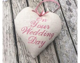 Wedding Personalised Keepsake Heart, Wedding Gift, wedding memento, Bridesmaid Gift, flowergirl