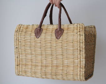 Reed Bag, large,  summer bag, summer purse, market basket, beach bag.