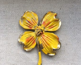 Vintage Yellow Dogwood Flower Brooch