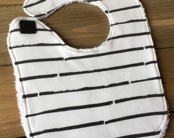 Baby Bib - Black and White Stripes - Organic Cotton Bib - Monochrome Gender Neutral Baby Shower Gift