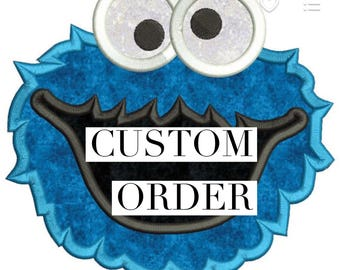 Backpack with Cookie Monster applique