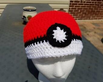 Crochet Pokeball Beanie Hat