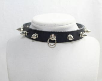 Black Leather Collar with Tree Spikes, Handmade Genuine Leather, O-ring and Silver Buckle