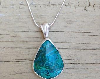Vibrant Malachite Chrysocolla necklace