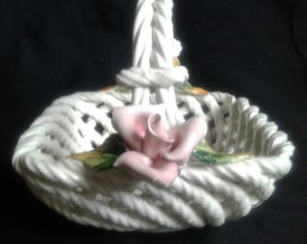 Italian Ceramic Basket White Hand Made with Yellow and Pink Rose Twisted Weave Maked on the Bottom Vintage Ceramics Collectible Karen Snider