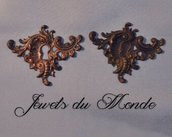 Vintage French Escutcheon or Flourish Louis XV Quinze Rococo Ornate Brass Die Casting 181J 182J