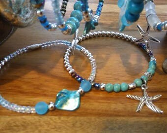 ankle bracelet, Pearl and turquoise starfish