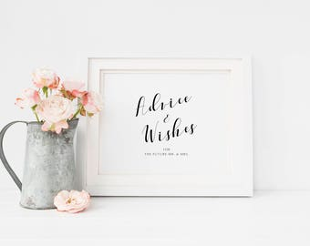 Printable Advice And Wishes For the Future Mr and Mrs, Wedding Shower Sign, Bridal Shower Sign, Wedding Sign, Printable Bridal Shower Wishes
