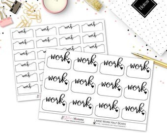 Work Schedule Half Boxes | Functional Planner Stickers