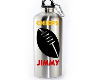 KANSAS CITY CHIEFS inspired Personalised Drinks Bottle Stainless Steel