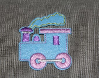 Coat, pattern fusible felt and embroidery blue iron-on or sew Applique locomotive