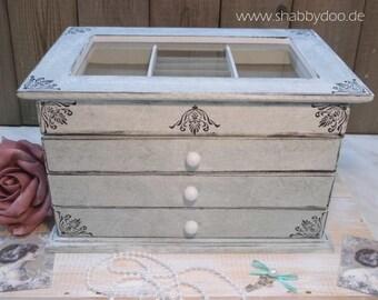 Jewelry box white shabby chic blaugrau marbled with ornaments jewelry box