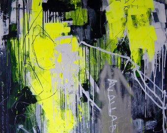 Original abstract contemporary painting, 100x120cm, 2017, neon series