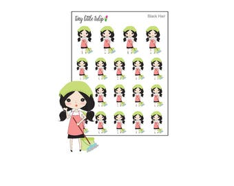 Planner Stickers Doodle Girl Cleaning