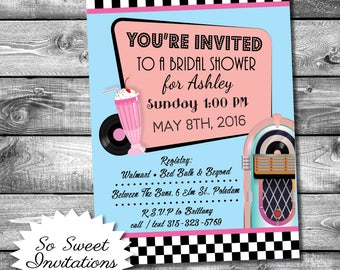 Bridal Invites, 50's Theme, Jukebox
