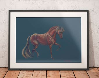 Above bed wall art, horse lovers, nature lovers gift, teen girl room decor, blue gift for wife, art above crib
